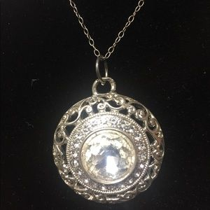 Bling circle pendant necklace
